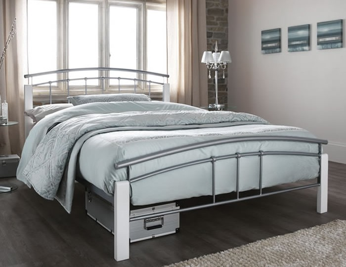 Tetras Silver Metal and White Bed Frame
