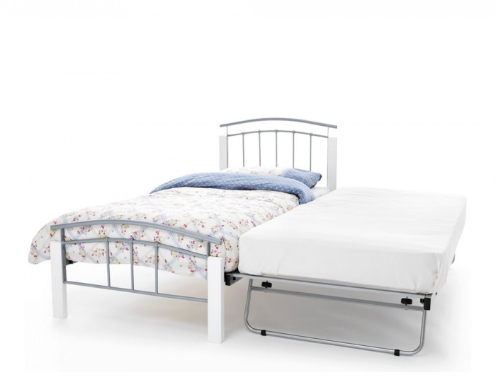 Tetras Silver Metal and White Guest Bed