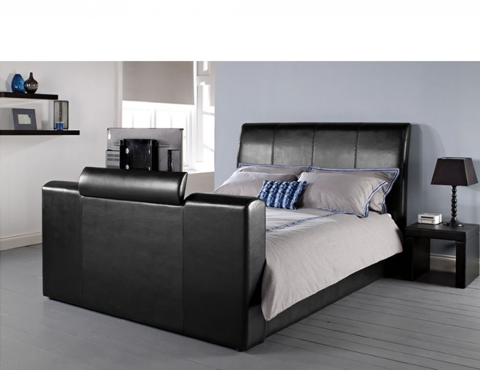 Empire Black Faux Leather TV Bed