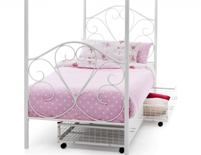 Isabella White Metal Four Poster Bed