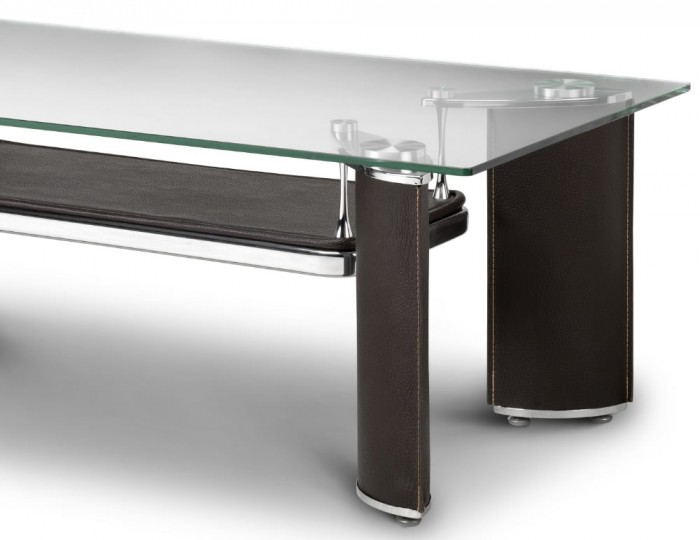 Dallas Glass And Brown Faux Leather Coffee Table