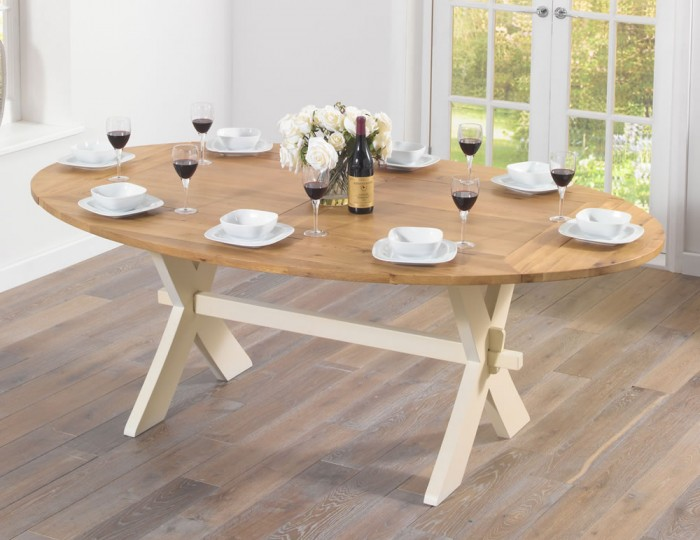 Rivoli Oak and Cream All Sides Extending Dining Table and Chairs
