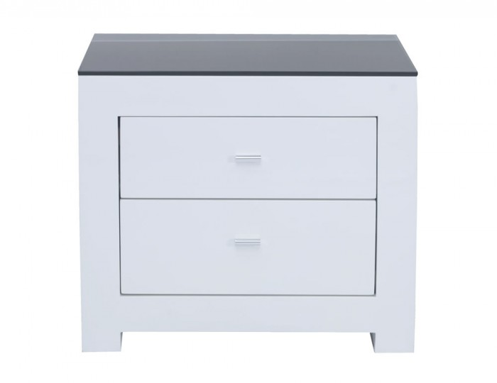 Cardiff White High Gloss 2 Drawer Bedside Chest