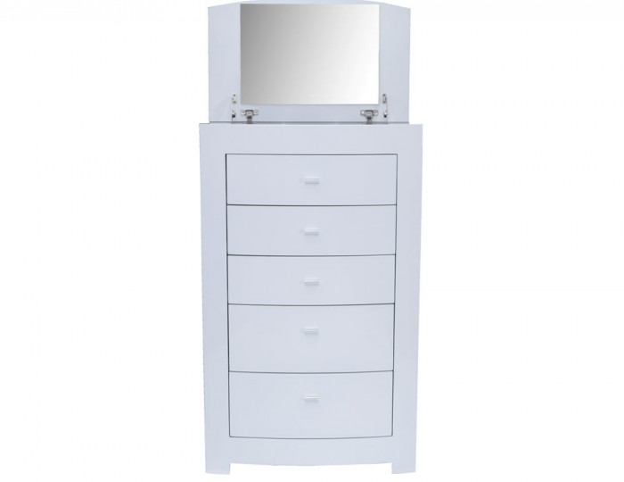 Cardiff White High Gloss 5 Drawer Chest With Lift Up