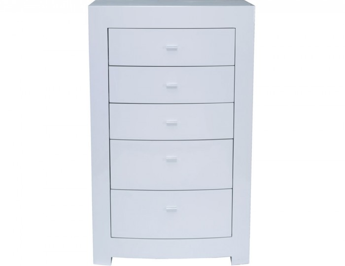 Cardiff White High Gloss 5 Drawer Chest with Lift-up Vanity Mirror