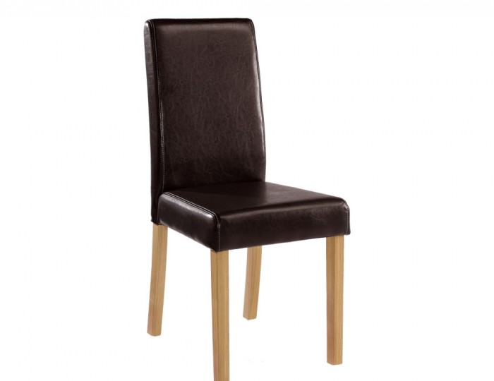 Foxton Brown Faux Leather Oak Dining Chair *Special Offer*