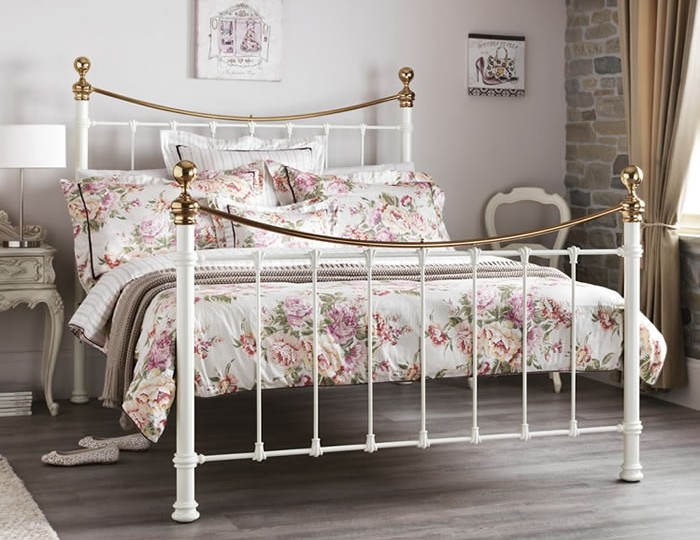 Ethan Ivory and Brass Metal Bed Frame