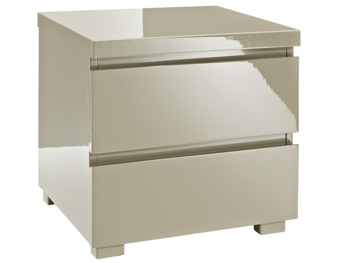 Puro Stone High Gloss 2 Drawer Bedside Chest