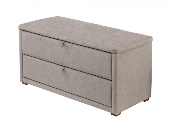 Darcy Mink Upholstered 2 Drawer Ottoman