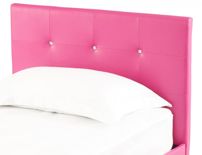 Diamond Pink Faux Leather Bed