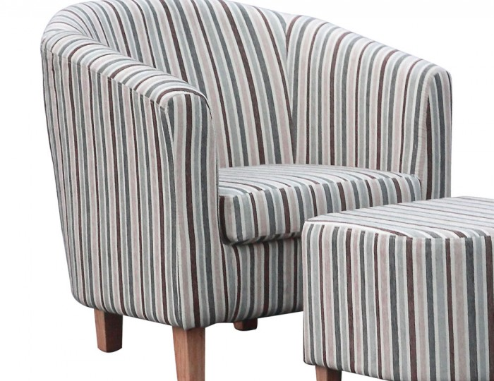 Duck Egg Blue Striped Tub Chair and Stool