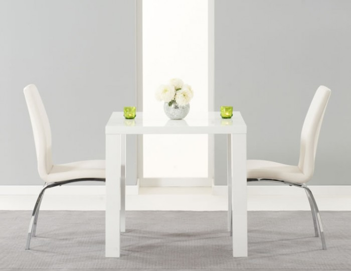 White Gloss Dressing Table And Chair: Earlham Small White High Gloss Dining Set