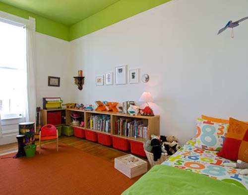 Green Ceiling Kids Bedroom