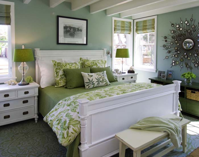 Lovely Green Contemporary Bedroom