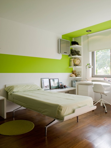 Green Strip Contemporary Bedroom