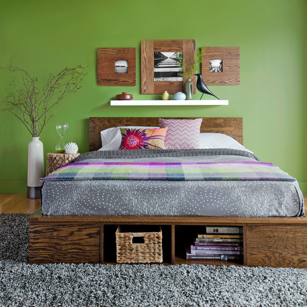 Wooden Furniture Green Contemporary Bedroom