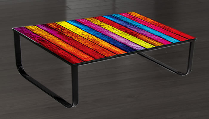Coloured Glass Top Dining Table