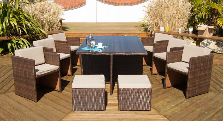 Rattan Cube Large Garden Table Set