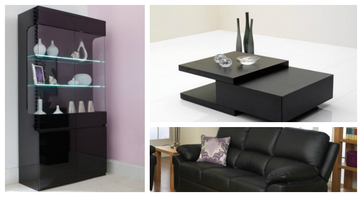 Living Room Furniture Black Gloss. Alpha Black Gloss And White