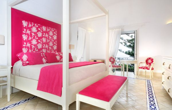 Hot pink and white bedroom design