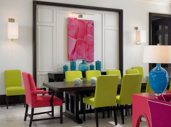lime green, pink and turquoise dining room