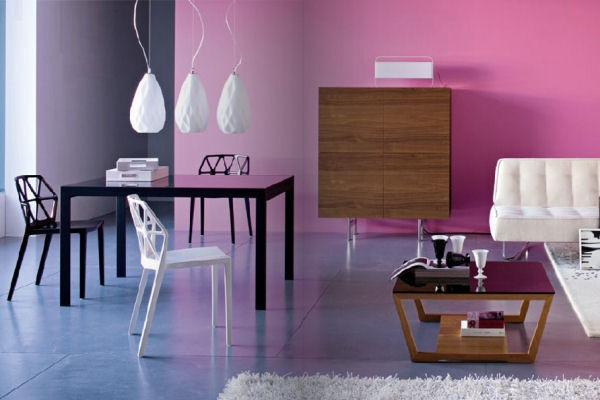 Pink gradient accent wall