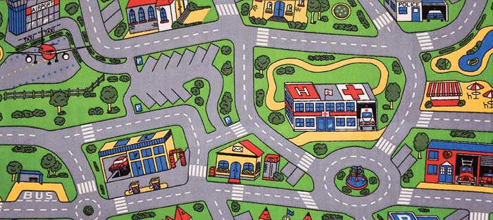 Town Roads Map Kids Play Mat