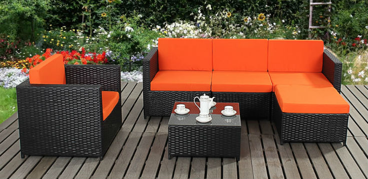 Contemporary Black Rattan Garden Furniture