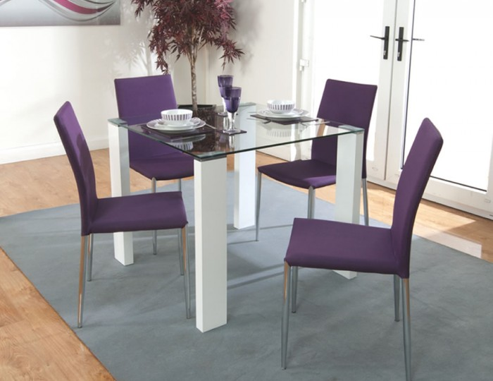 Thebes glass and white gloss dining set